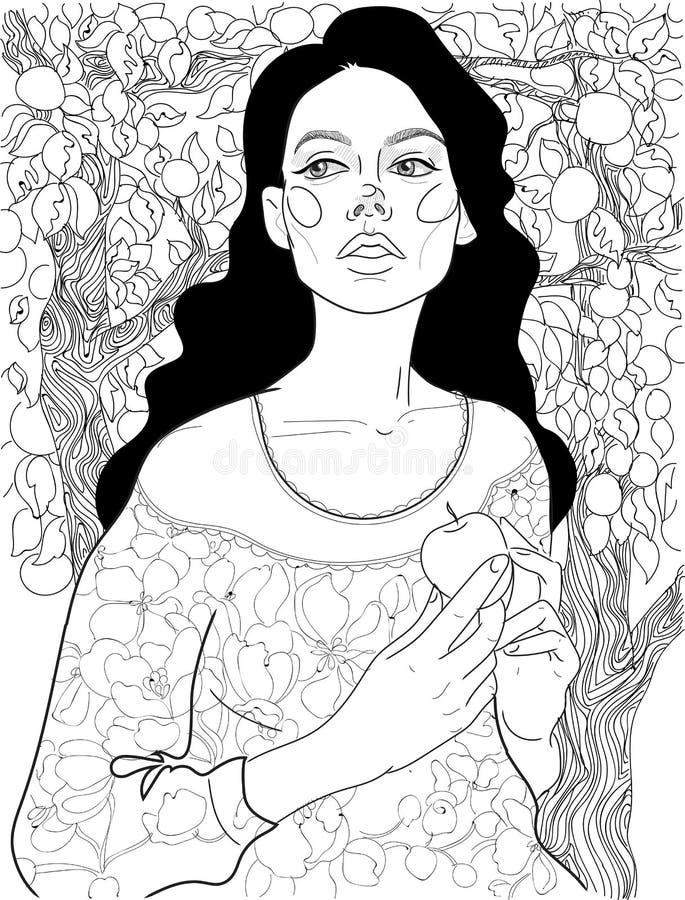 Brunettflicka i en äpplefruktträdgård stock illustrationer