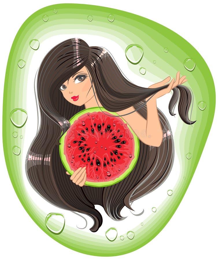 Brunettflicka som rymmer en vattenmelon Malletikettschampo vektor illustrationer