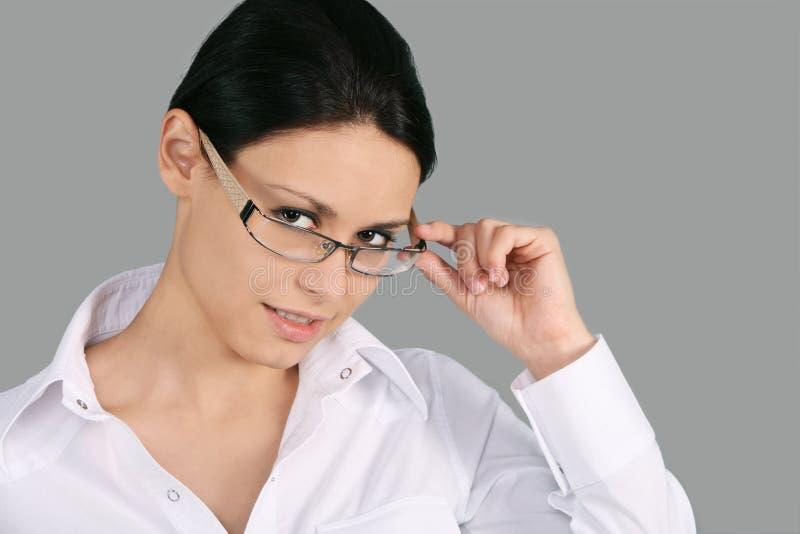 brunettglasögonslitage royaltyfria foton