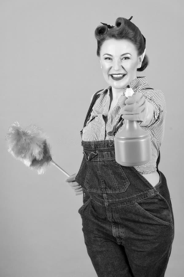 Brunettkvinna i utvikningsbildstil med den mjuka dammtrasa- och sprejflaskan royaltyfria bilder