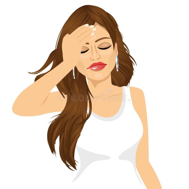 Brunettkvinna som trycker på hennes head lidande en smärtsam huvudvärk stock illustrationer