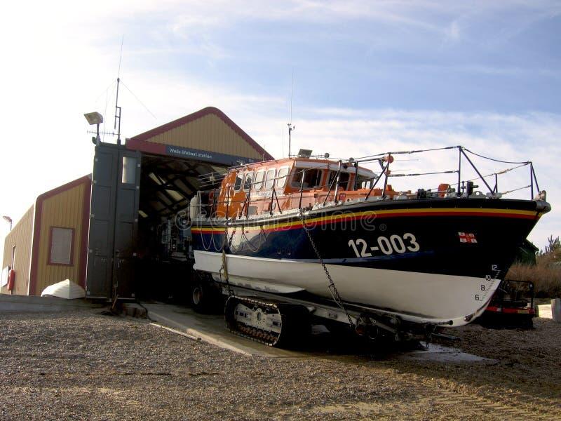 Brunnar därefter huset för station för livräddningsbåt för hav RLNI det utvändiga fotografering för bildbyråer