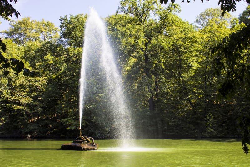 Brunnen auf einem Teich auf einem hellen sonniger Tages-sofiyevsky Park lizenzfreie stockfotos