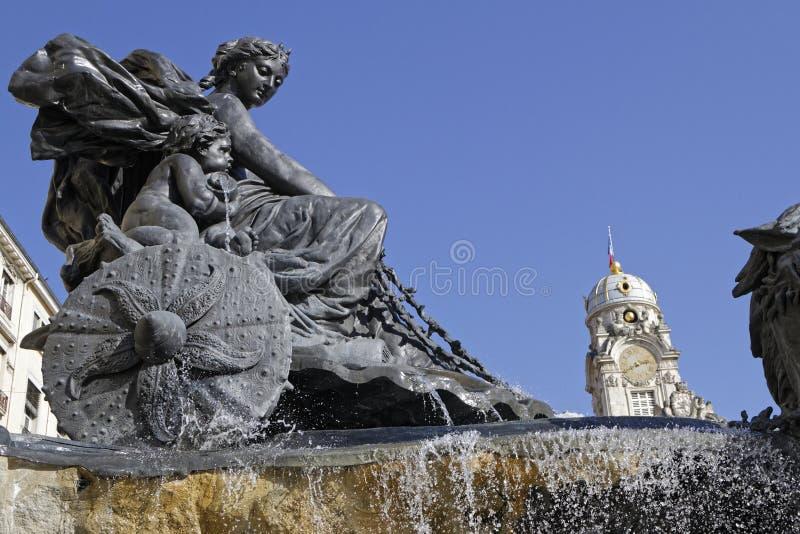Brunnen Bartholdi-Kampfwagen, auf Platz-DES Terreaux lizenzfreie stockfotografie