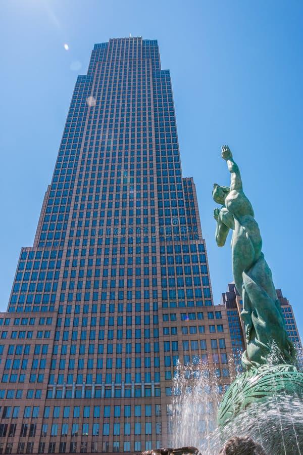Brunnen des ewiges Lebens-Schlüssel-Turms Cleveland lizenzfreie stockbilder