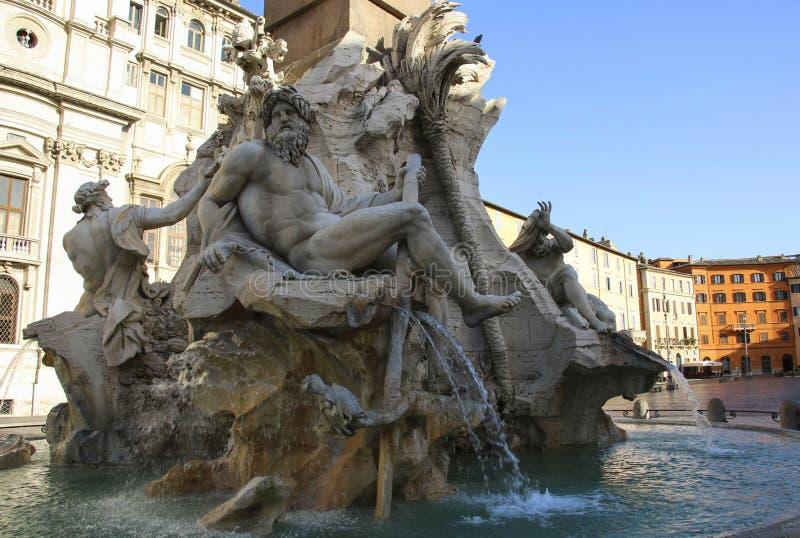 Brunnen des vier Fluss-Fontana-dei Quattro Fiumi in Piazz lizenzfreies stockfoto