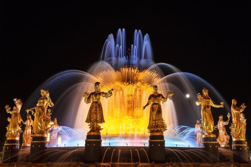 Brunnen-?Freundschaft von V?lkern auf dem Gebiet der Gesamt-russischen Ausstellungsmitte VDNH nachts Moskau, lizenzfreie stockfotografie