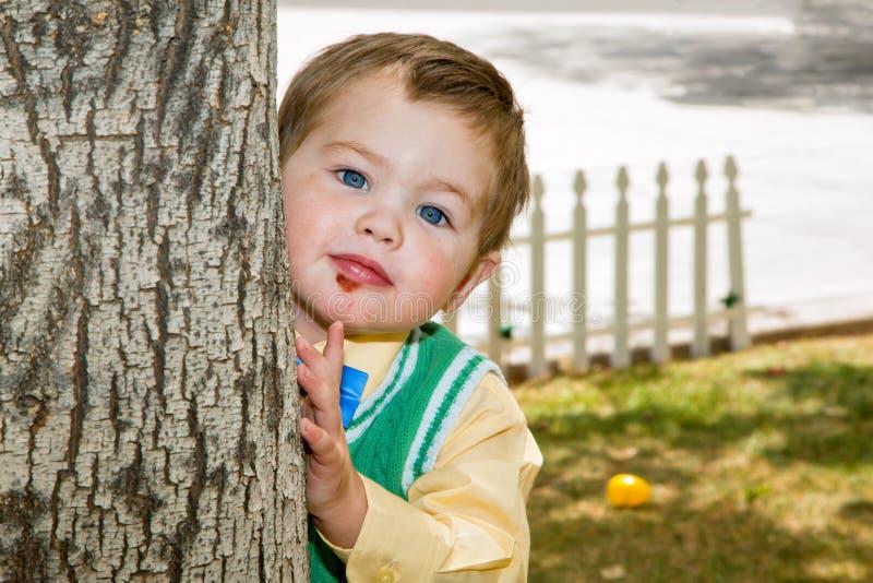 Brunnen klädde pojken kikar runt om ett träd arkivfoton