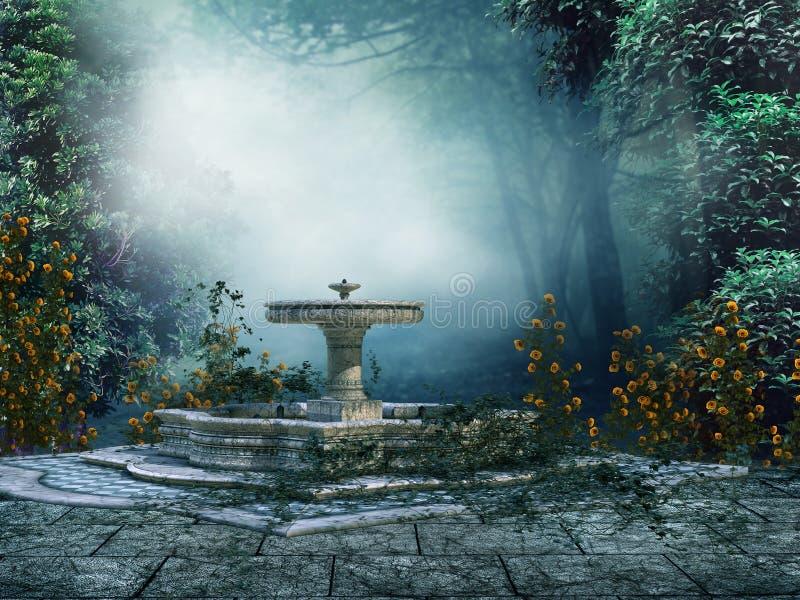 Brunnen mit Rosen stock abbildung