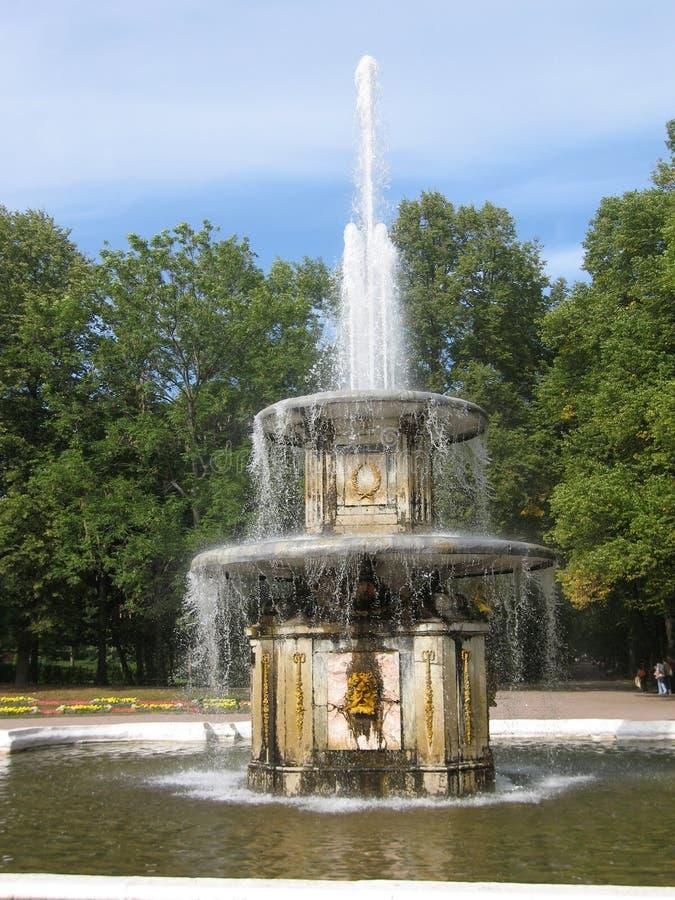 Brunnen in Petergoph, Russland. stockbild