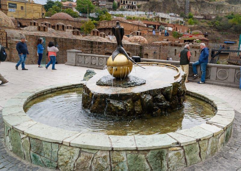 Brunnen und alte Schwefel Bäder in Tiflis, Georgia lizenzfreies stockfoto