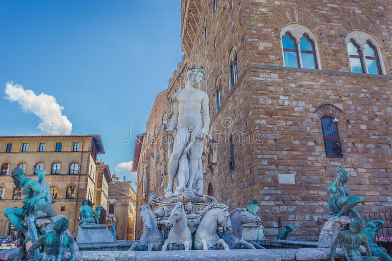 Brunnen von Neptun, Florence Italy stockbild