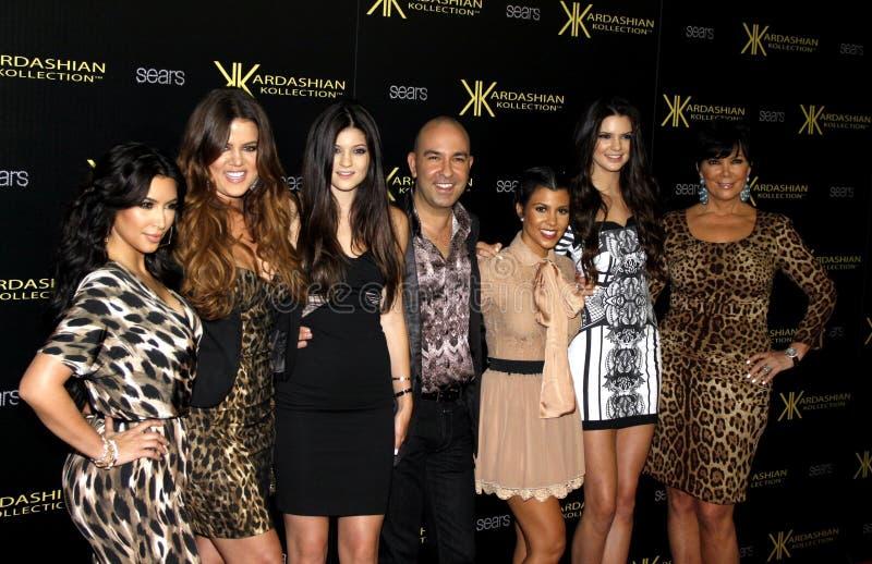 Bruno Schiavi, Khloe Kardashian, Kylie Jenner, Kris Jenner, Kourtney Kardashian, Kim Kardashian et Kendall Jenner image stock