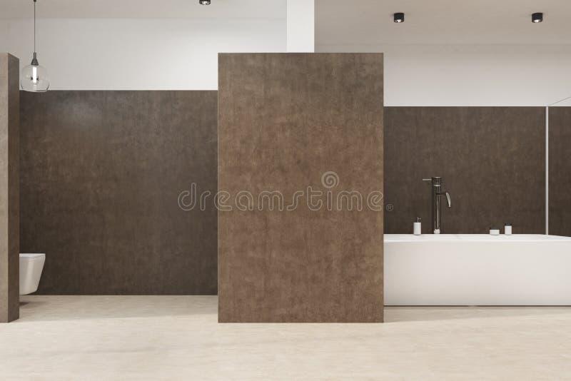 Brunt badrum med en toalett royaltyfri illustrationer