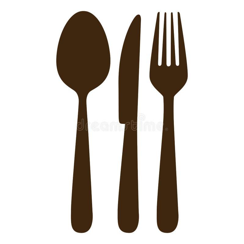 brunt bestick bearbetar symbolen vektor illustrationer
