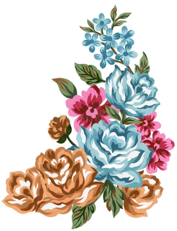 Brunt för blom- rosa färger för sammansättning för vattenfärgtappning röd blå orange och sidabukettblommor och fjädrar som isoler vektor illustrationer