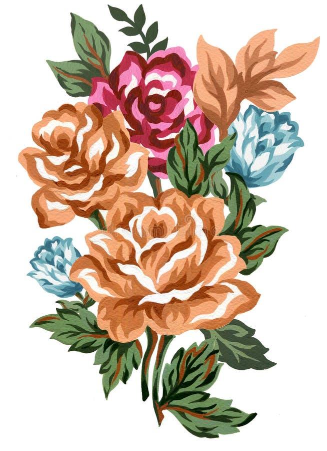Brunt för blom- rosa färger för sammansättning för vattenfärgtappning röd blå orange och sidabukettblommor och fjädrar som isoler royaltyfri illustrationer