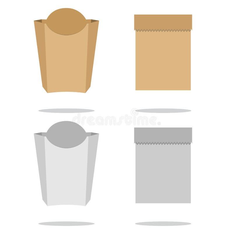 Brunt förpacka för plast- eller för papper Påse för te, kaffe, sötsaker, kakor och gåva vektor illustrationer