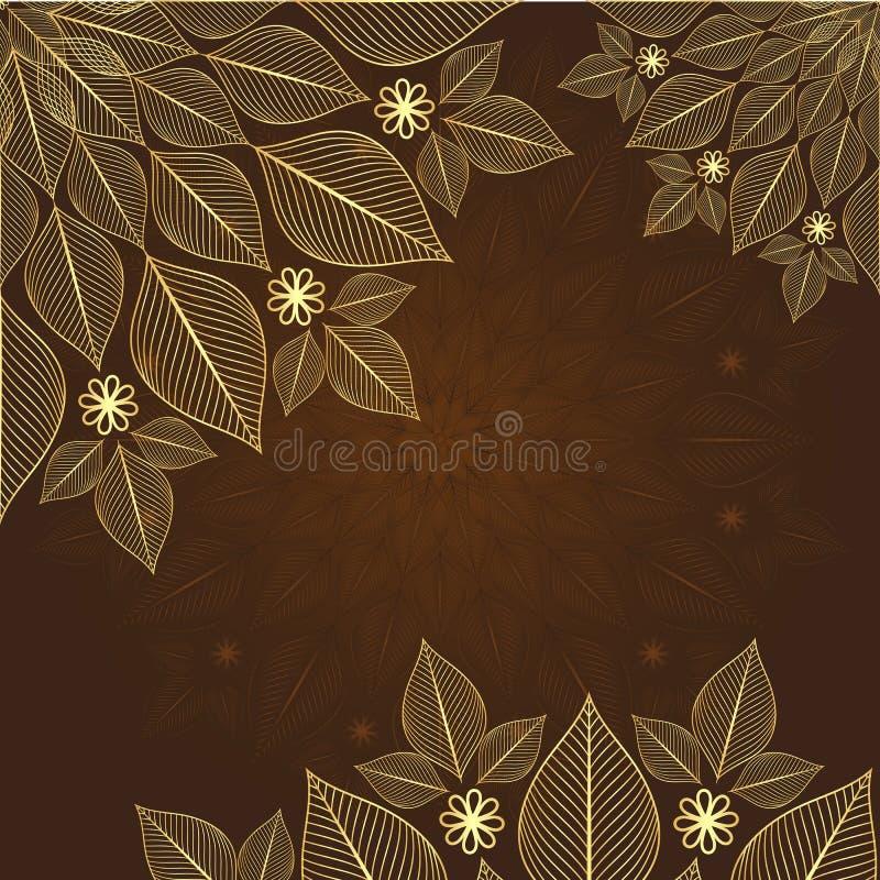 Brunt-guld tappningram royaltyfri illustrationer