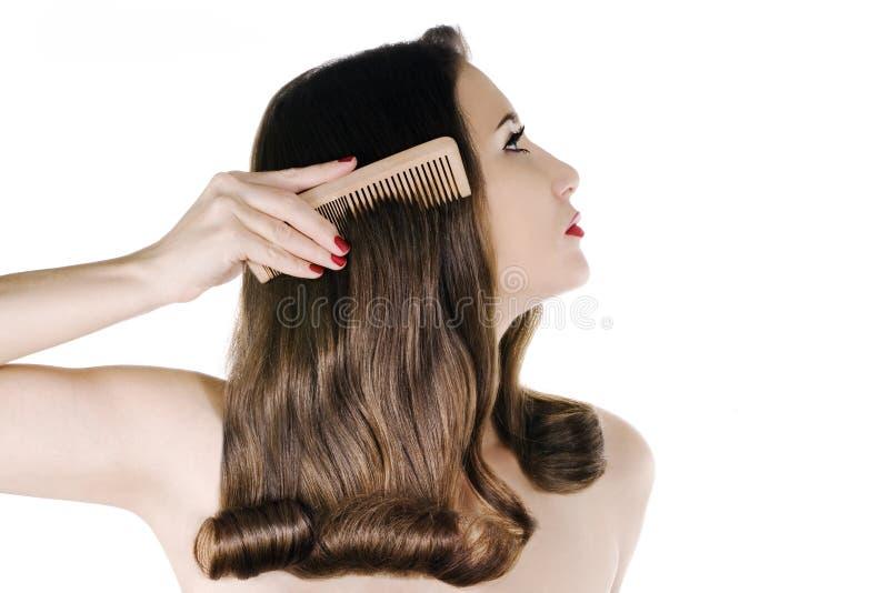 brunt hår arkivbilder