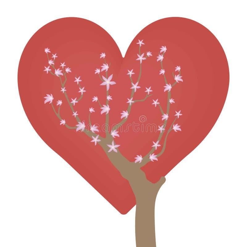 Brunt ljust branchy träd med små rosa blommor på ljusa röda hjärtor för en bakgrundsförälskelse som isoleras på en vit bakgrund vektor illustrationer