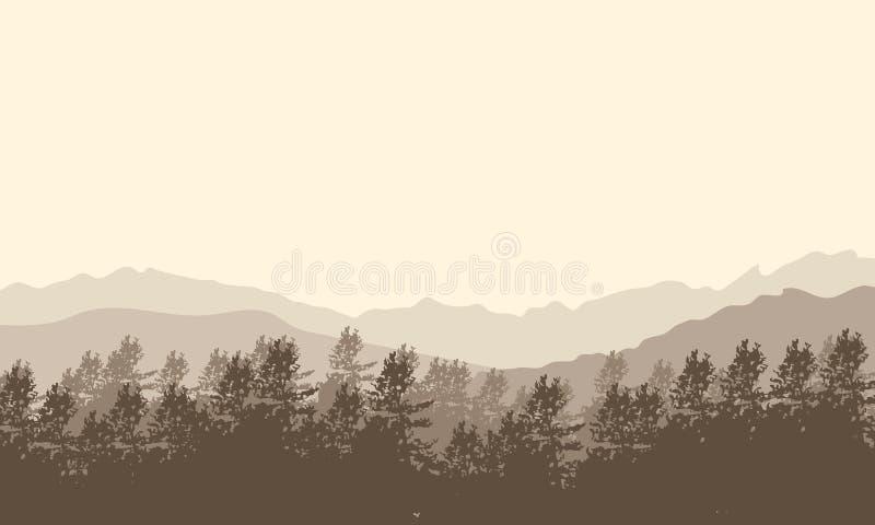 Brunt monokromt landskap med berg och skogen royaltyfri illustrationer