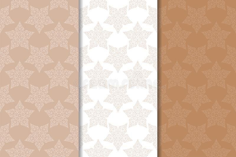 Brunt och beigea blom- bakgrunder royaltyfri illustrationer