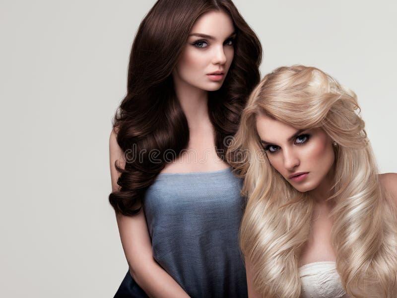 Brunt och blont hår Stående av den härliga kvinnan med långa mummel arkivfoto