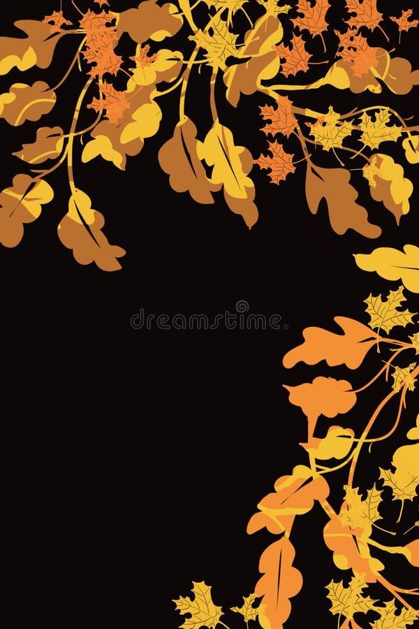 Brunt och guld- gräns av höstträdsidor i övre högra och rätsidan på svart, för nedgånggräns vektor illustrationer