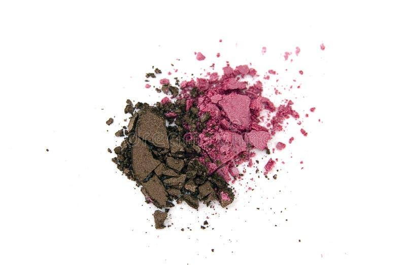 Brunt och rosa pulver för ögonskugga fotografering för bildbyråer