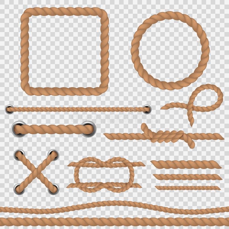 Brunt rep Tvinnar marin- kabel för realistiska rep, den nautiska krökta rundan ramen för tappning för gränsen för hampasammanlänk royaltyfri illustrationer