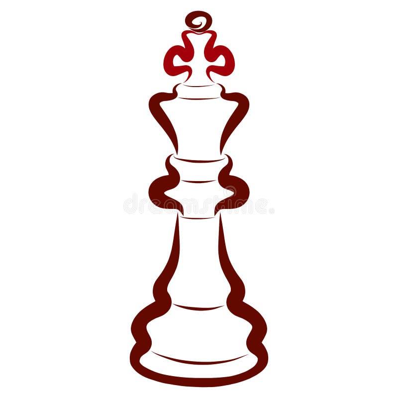 Brunt schackstycke, mörk konung, intellektuell sport vektor illustrationer