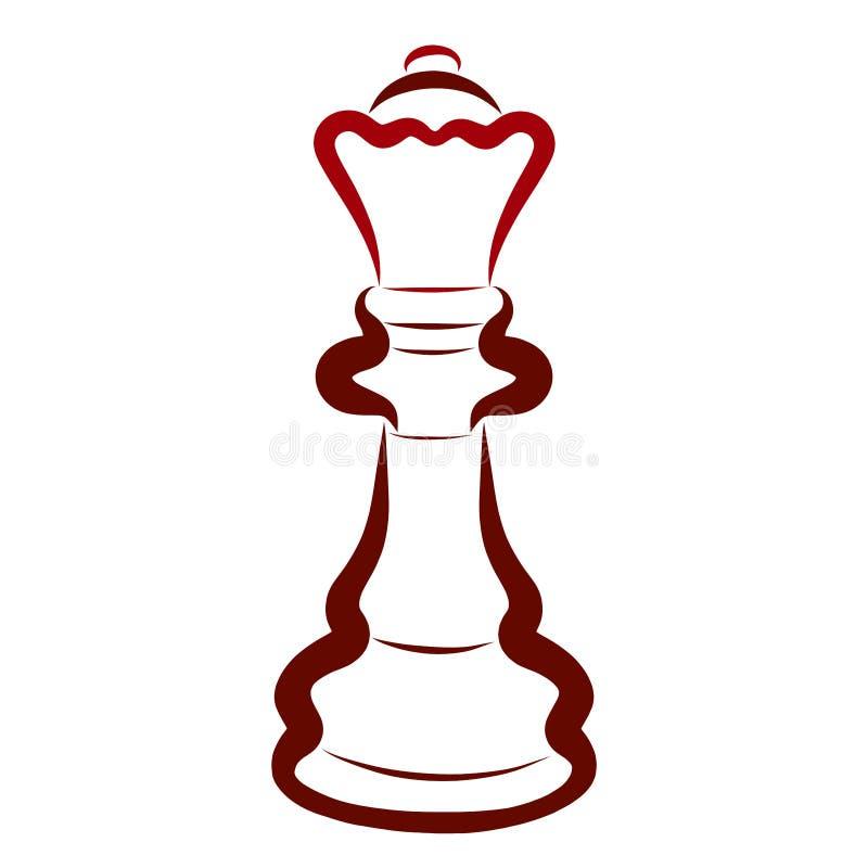 Brunt schackstycke, mörka drottningar, intellektuell sport vektor illustrationer