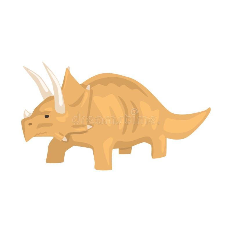 Brunt styracosaurusdinosaurietecken, djur vektorillustration för Jurassic period royaltyfri illustrationer