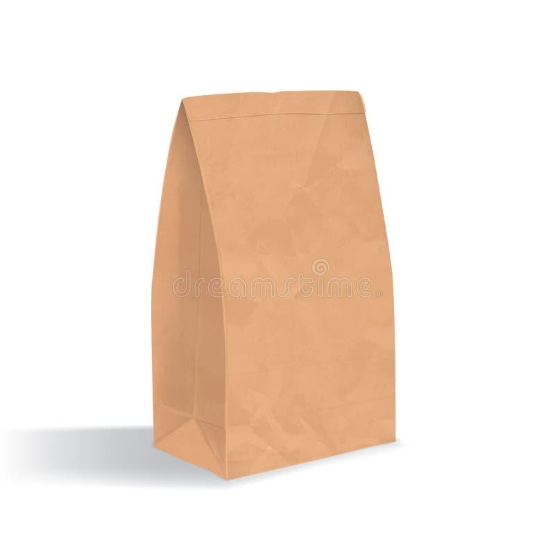 brunt tomt papper för påse Realistisk triangulär kraft packe med skuggor som isoleras på vit bakgrund mall för restaurang för beg stock illustrationer