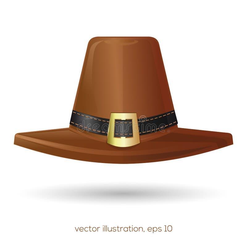Brunt vallfärdar hatten med en buckla royaltyfri illustrationer