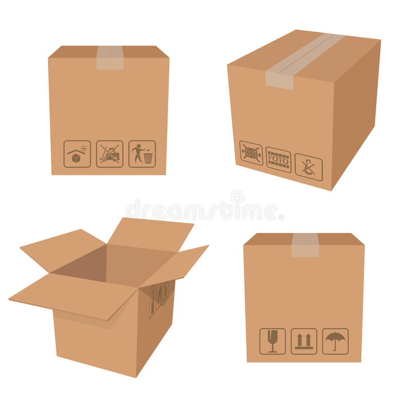 Bruntaskar stock illustrationer