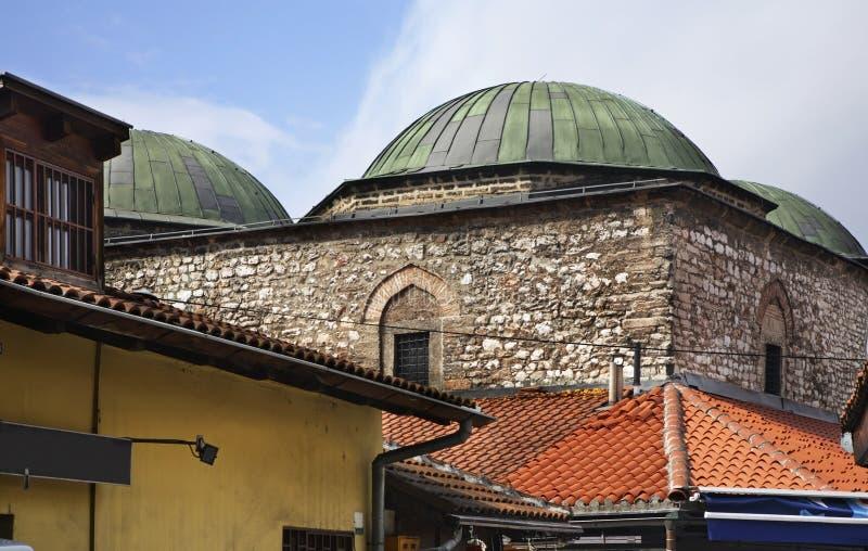 Brusa Bezistan - historiskt museum i Sarajevo stämma överens områdesområden som Bosnien gemet färgade greyed herzegovina inkluder royaltyfri foto