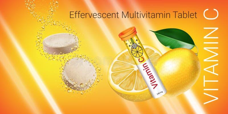 Brusande Multivitaminminnestavlaannonser Vektorillustration med behållaren och citronen för vitamin C vektor illustrationer