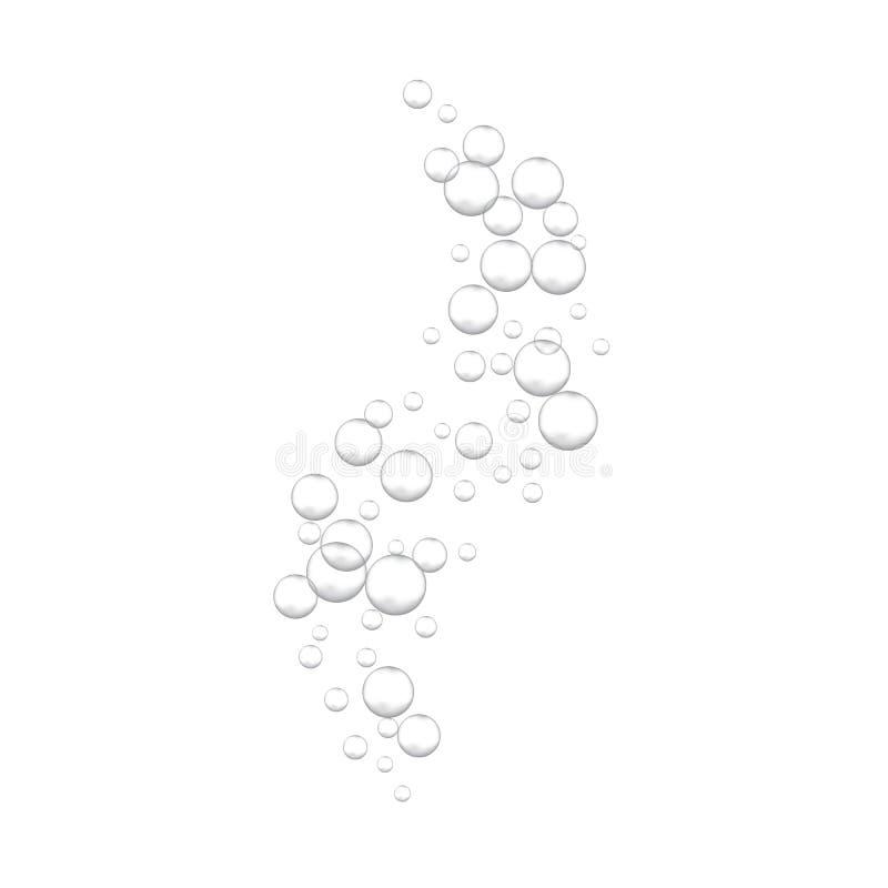 Brusande vatten som väser bubblor på vit bakgrund stock illustrationer