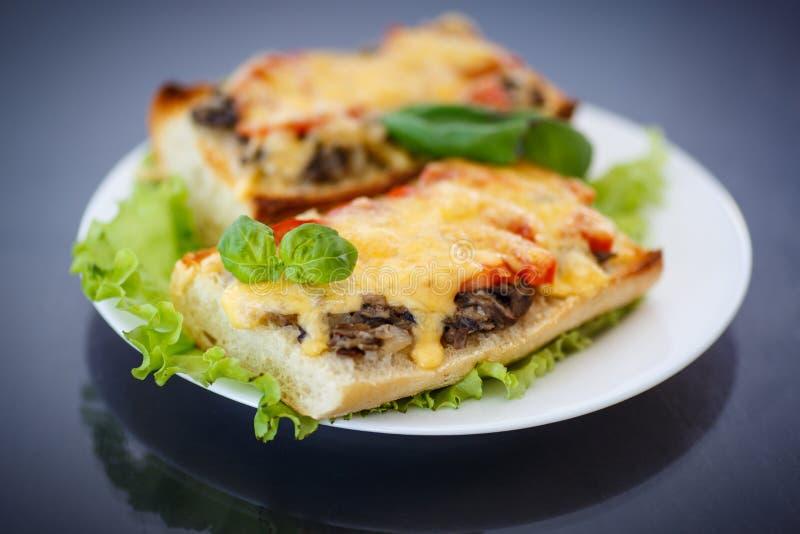 Bruschetta με τα μανιτάρια και το τυρί στοκ φωτογραφία