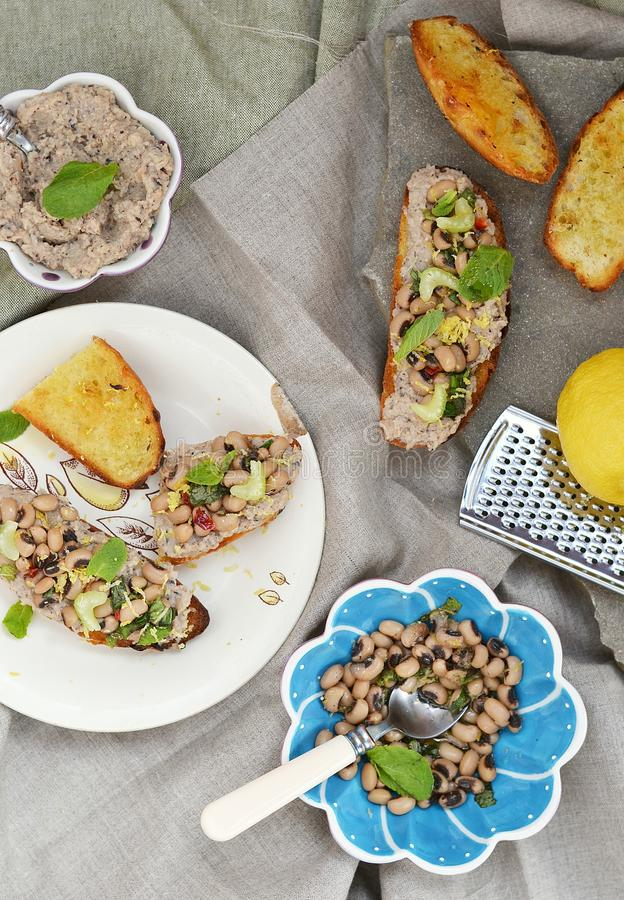 Bruschetta with beans royalty free stock image