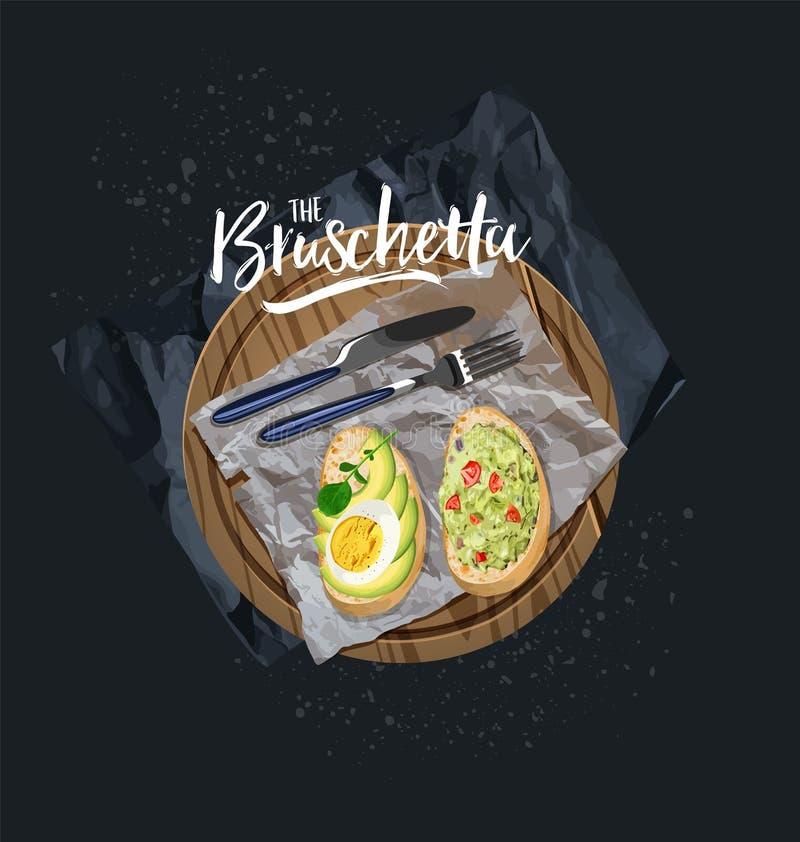 Bruschetta con el aguacate, el huevo y el bruschetta con el tomate, hierbas sirvió Gráficos de vector stock de ilustración