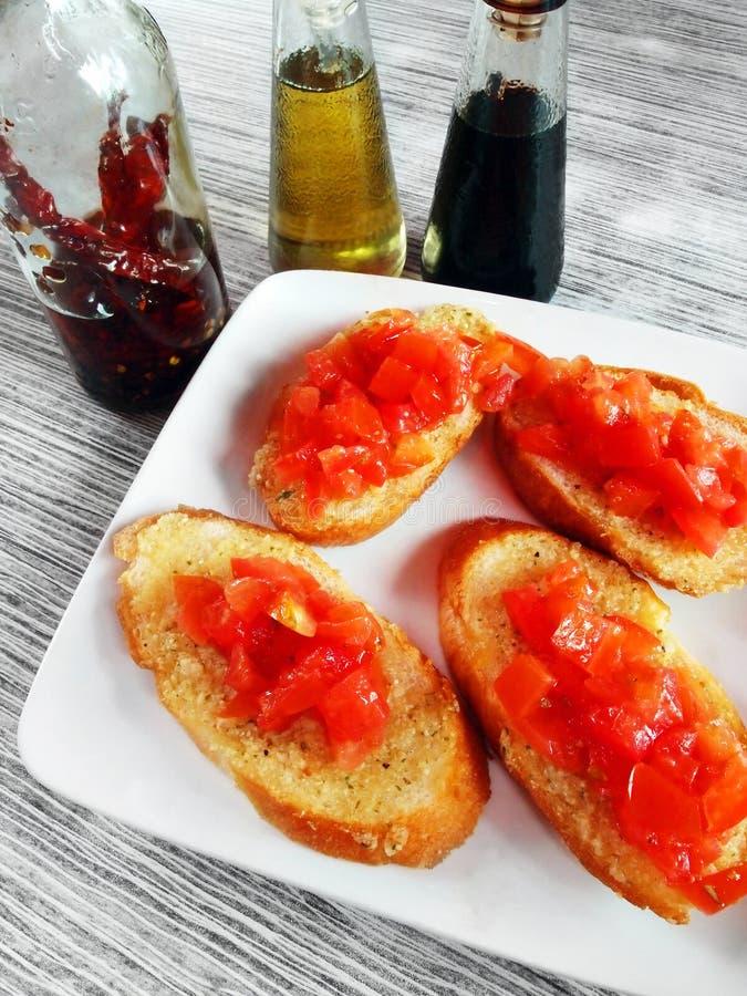 Download Bruschetta italian starter stock photo. Image of bottle - 29018270
