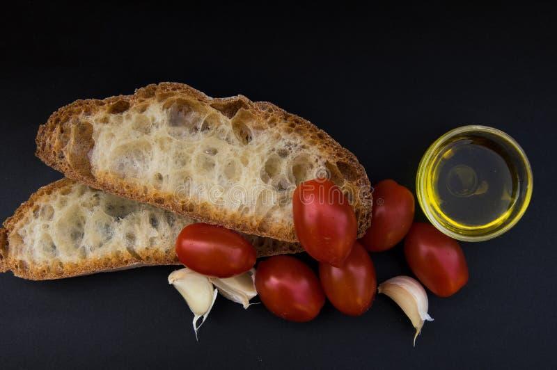 Bruschetta italiana dell'alimento e di cucina fotografie stock libere da diritti
