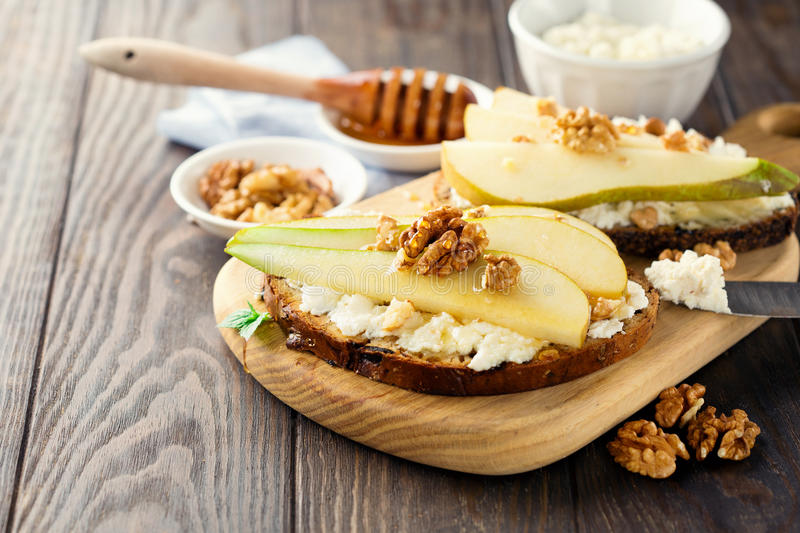 Bruschetta with pears royalty free stock images