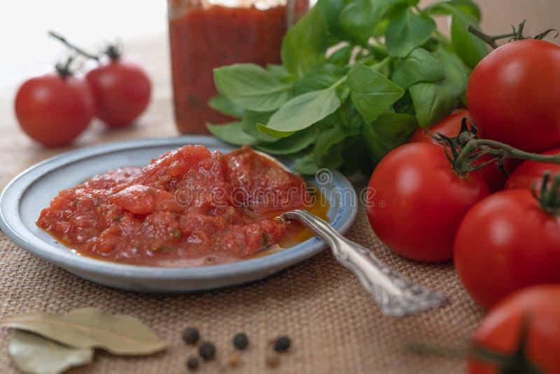 Bruschetta sås, nya röda tomater och gröna Basil Leaves och några kryddor, lantlig bakgrund, slut upp på ett köksbord royaltyfri bild