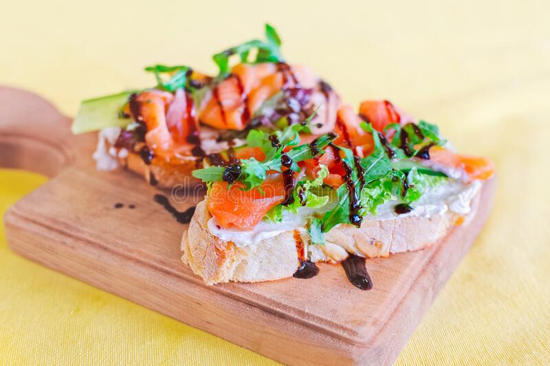 Bruschetta with salmon royalty free stock images