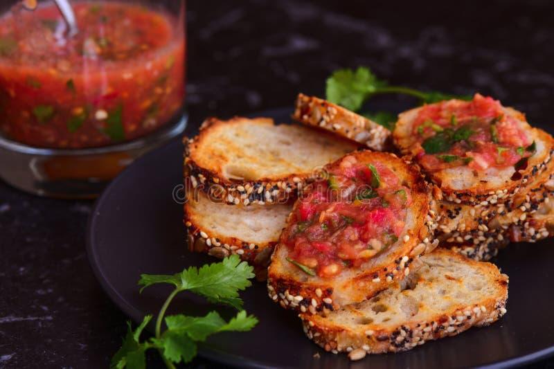 Bruschetta and salsa royalty free stock photo