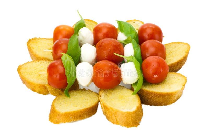 Bruschetta Steuerknüppel auf französischem Brot stockfoto